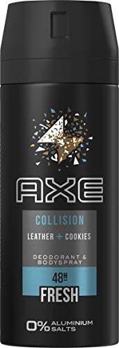 AXE Bodyspray für einen langanhaltenden Duft Collision Leather & Cookies ohne Aluminiumsalze, 3er Pack (3 x 150 ml)