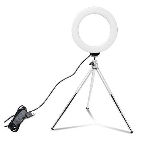 GYY Fotografía LED Selfie Ring Light Dimmable Cámara Teléfono de 6 Pulgadas / 16 cm Lámpara de Anillo con trípodes de Mesa para Maquillaje Video Live Studio para Youtube Video TikTok