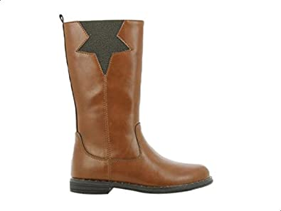 Sprox Faux Leather Side Zip Star Detail Knee High Boots for Girls - Brown, 28