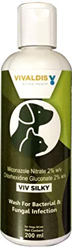 Vivaldis Viv Silky Dog & Cat Shampoo| Anti-Bacterial & Anti-fungal Pet Shampoo for Curing Severe Itching, Redness & Irregular Patches of Hair Loss| Cleans, Hydrates Skin & Coat, 200ml