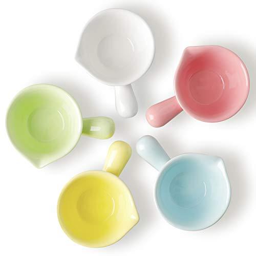 Chas Bete Saucenschälchen Keramik, Cupcakes, Muffins und Pudding Förmchen, klein Gewürzschale 5er-Set, Milchkännchen 62ml