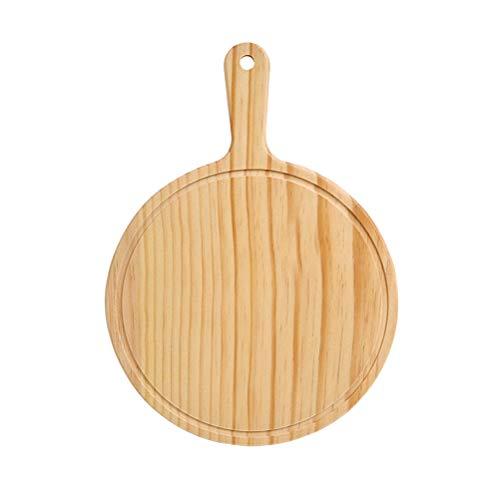 Vosarea – Pá de madeira para descascar pizza e tábua de corte com alça (para assar pizza, pão, cortar frutas, legumes, queijo)