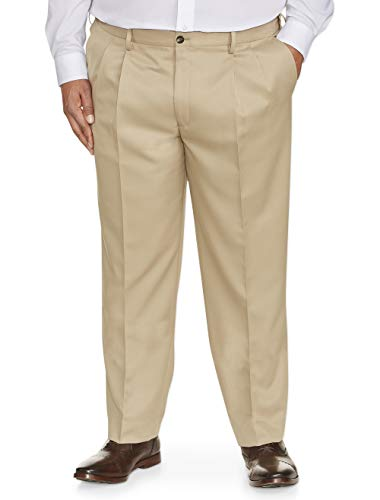 Amazon Essentials Men's Big & Tall Classic-Fit Wrinkle-Resistant Pleated Dress Pant, Khaki, 48W x 32L