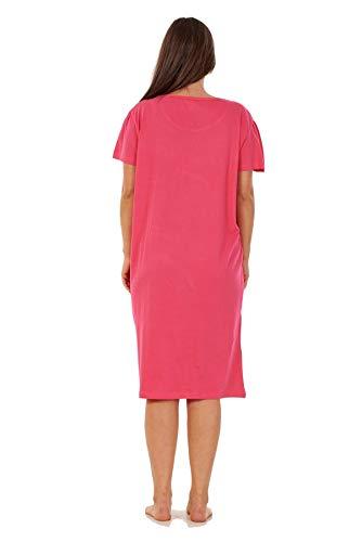 Apparel Ladies Nightwear Round Neck Star Moon Printed Short Sleeve Nightie Nightshirt Fuchsia