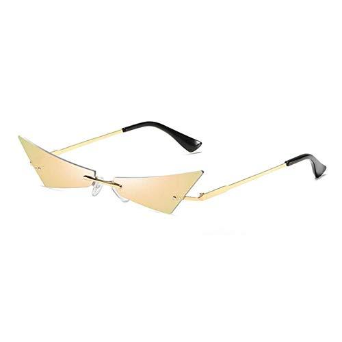 ZZOW Gafas De Sol Sin Montura De Ojo De Gato Único A La Moda para Mujer con Revestimiento De Espejo, Lentes Reflectantes para Mujer, Gafas De Sol Uv400 para Hombre