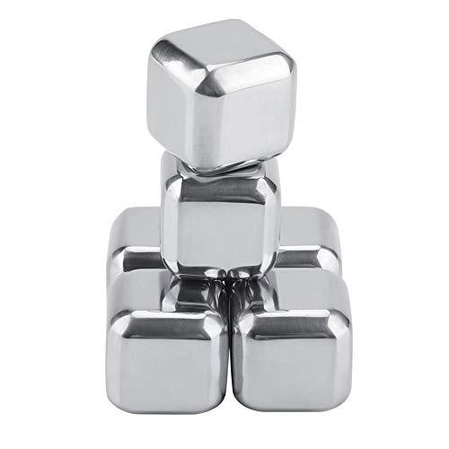 Fdit - Set di 6 cubetti di ghiaccio in acciaio inox, riutilizzabili, per whisky, refrigeranti e bevande