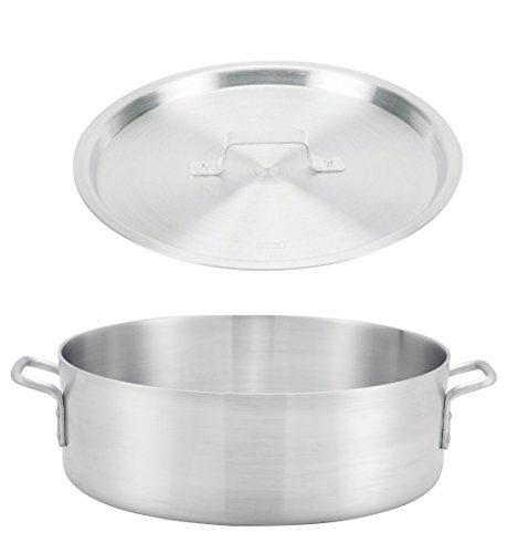Winco ALB-18, 18-Quart 15.8' x 5.5' Standard Heavy Aluminum Brazier Pan with Cover, Heavy-Duty Commercial Grade Braiser Pan with Lid, NSF