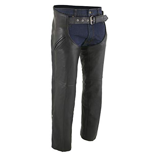Milwaukee Leather ML1103 Men's Black Leather Chaps with Slash Pocket and Thermal Liner - X-Large