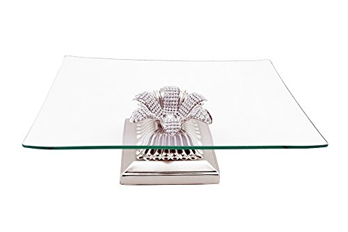 Elegant Glassware Square Platter Dish Tray on Metal Crystal Accented Base