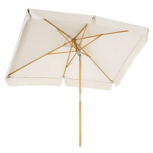 SONGMICS Parasol de balcón de 3 x 2 m, Sombrilla rectangular, Mástil y varillas de madera, Inclinable, Base no incluida, para patio, jardín y terraza, BeigeGPU300M01