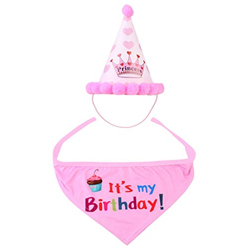 Artículos for mascotas Perro del cumpleaños del sombrero del partido del perrito feliz cumpleaños Suministros for mascotas de la bufanda del tocado Accesorios ( Color : Pink , Size : Happy Birthday )