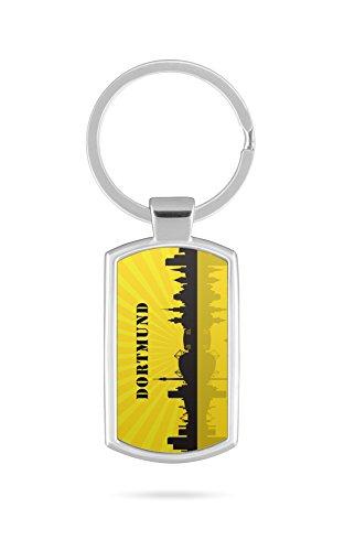 Schlüsselanhänger mit Gravur Wunschtext Name Dortmund Skyline