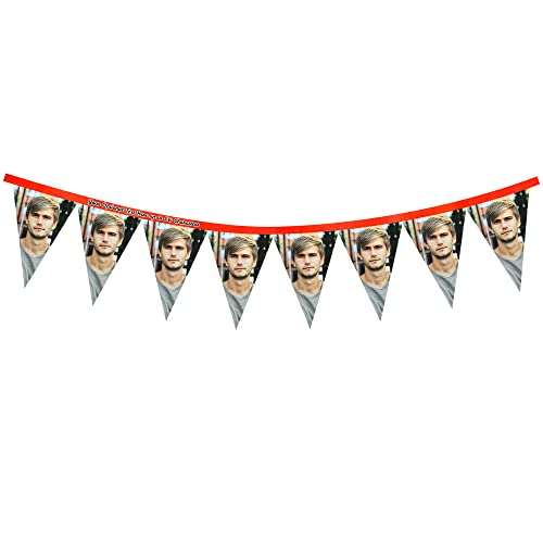Personalisierte Foto-Wimpelkette – 8 Flaggen (rechteckig 28 cm) – Mock Suede Polyester (Burg&errot)