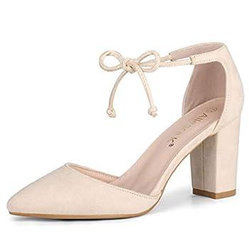 Allegra K Women s Ankle Tie Chunky Heel Pointed Toe Dress Point Toe Dress Beige Pumps - 8.5 M US