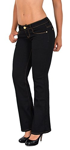 ESRA Damen Jeans Jeanshose Bootcut Damen Schlaghose Hüftjeans bis Übergröße B300