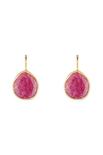 Córdoba Jewels   Pendientes en plata de ley 925 bañados en oro con piedra semipreciosa. Diseño Luxury Mini Gota Frambuesa Gold
