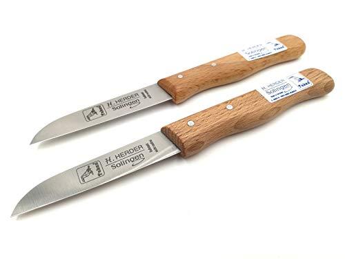 H. Herder 2 Solingen Küchenmesser 17cm Gußstahl Nicht rostfrei Buche Carbon Solinger Handabzug Holzgriff