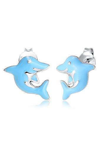 Elli Ohrringe Kinder Delfin Tier Urlaub Emaille in 925 Sterling Silber