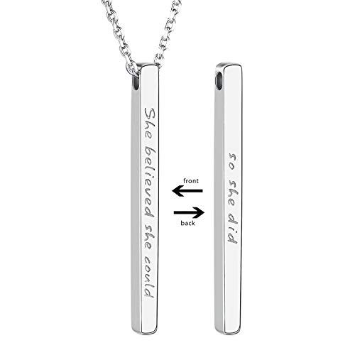 925 Sterling Silver Inspirational Bar Necklace Engraved 'She believed she could so she did' Jewelry Gift for Girls