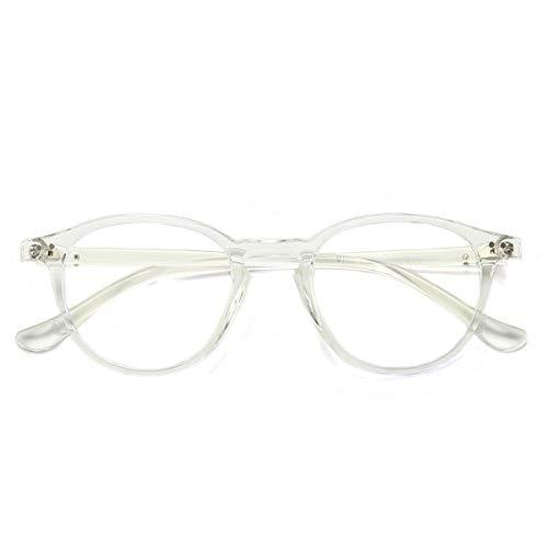Blaulichtfilter Brille ComputerBrille Anti Müdigkeit Anti-Blaulicht Retro Round Frame Gaming Brille für PC Damen Herren Transparent