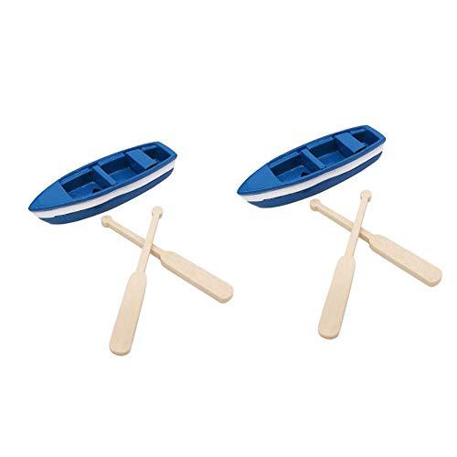 Dosige Miniatur Puppenhaus Kanu mit Paddel Ruderboot für Mini Fairy Garden Schiff