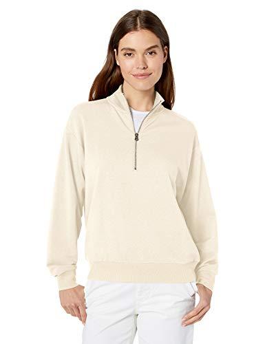 Amazon-Marke: Daily Ritual Damen-Sweatshirt, aus Frottee und Modal, mit halblangem Reißverschluss, Whitecap Grey Heather, L