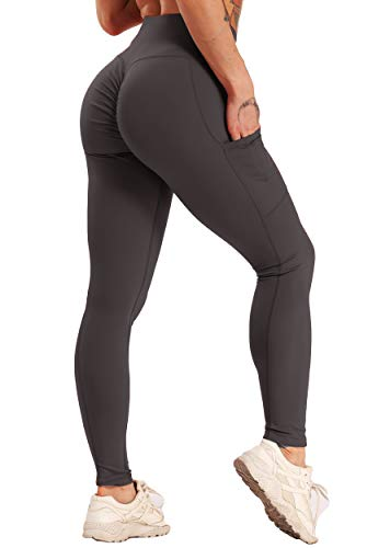 FITTOO Mallas Leggings Mujer Pantalones Deportivos Yoga Alta Cintura Elásticos Transpirables Gris S