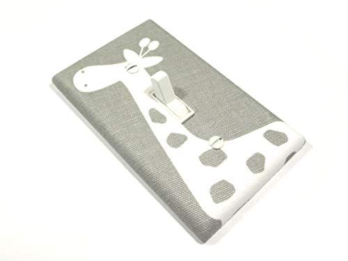 White and Gray Giraffe Light Switch Cover