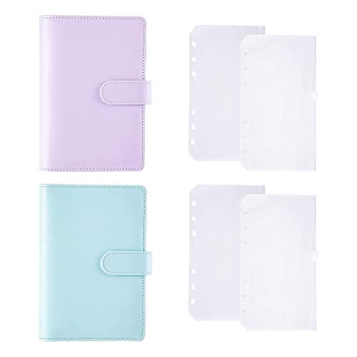2pcs A6 Binder PU Taccuino in Pelle PU con Foglia Sciolto Zipper Pocket Ricaricabile 6 Cover Binder Ring Ring (Viola, Blu) (Color : Blue Purple)