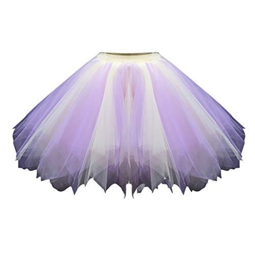 Zottom Mode Damen Tutu Rock Candy Farbe Tüll Cosplay Karneval Kleid Erwachsene(A-Lila,Medium)