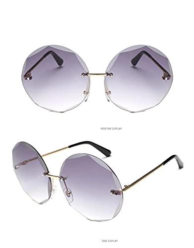 Moda Gafas De Sol Sin Montura De Corte Redondo para Mujer Y Hombre, Gafas De Sol con Gradiente De Moda Vintage, Nuevas Y Elegantes Gafas para Mujer Y Hombre, 6-Gold-Bluepink
