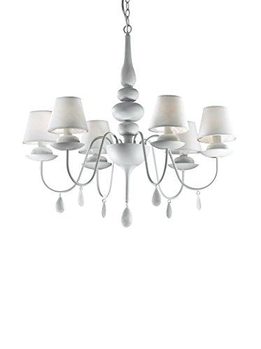 Ideal Lux Blanche SP6 Lampada a Sospensione E14, Bianco