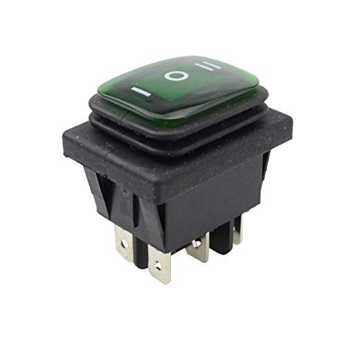 Kfdzsw Interruptor basculante Fijo de Auto-Bloqueo ON Off ON KCD4 IP67 a Prueba de Agua Interruptor Rocker Sealed 3 Manera 6 Botones 12v con la lámpara (Color : Green)
