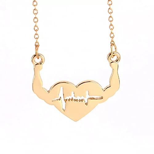 RTEAQ Moda Collar Joyas Gargantilla Color Oro y Color Blanco Plateado corazón Fuerte y Collares Pendientes Collar de Regalo Parejas Fiesta San Valentín Cumpleaños Regalos