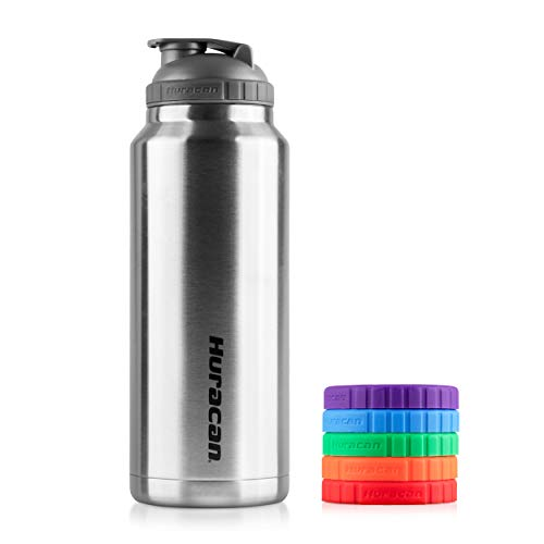 Huracan Shaker Bottle: Double Wall Vacuum Insulated Stainless Steel, Wide Mouth, Removable Mixer, Silicone Grip, BPA Free - 36oz + Huracan Silicone Grips (Multi-Colored)