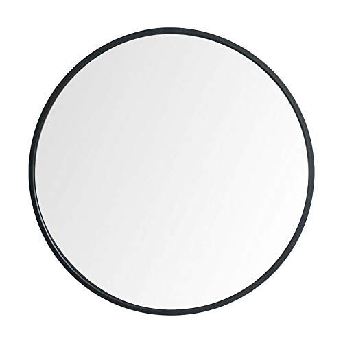 Huimei2Y 鏡 壁掛けミラー 丸型ミラー ウォールミラー アルミフレーム インテリア 洗面 化粧 軽量 HD鏡面 モダン おしゃれ 玄関 リビング 洗面 トイレ バスルーム 円形 (ブラック, 直径50cm)