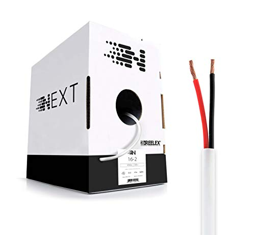 Next 16/2 Speaker Wire - 16 AWG/Gauge 2 Conductor - UL Listed In Wall (CL2/CL3) and Outdoor/In Ground (Direct Burial) Rated - Oxygen-Free Copper (OFC) - 500 Foot Bulk Cable Pull Box -  White