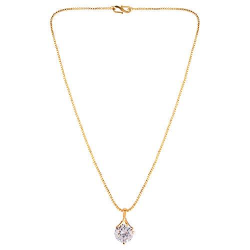 Efulgenz Collar de cadena con colgante de circonita cúbica en tono dorado, para niñas, mujeres
