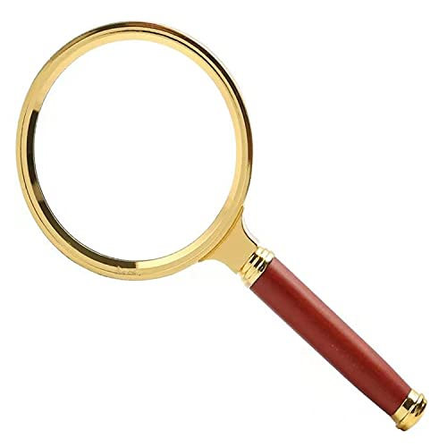 Magnifying Glass, Yoeseen Handheld Magnifier, 10x Magnifying Glass for Reading, 90mm Magnifying Glasses, with Removable Classical Wooden Handle and Metal Frame, for Reading and Outsdoor Investigation