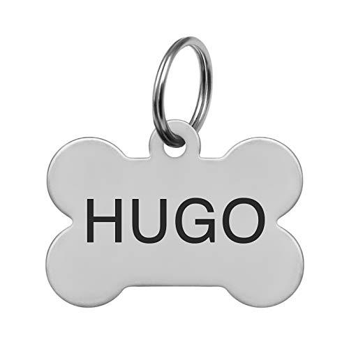 kultdog Knochen Hundemarke mit Gravur - Adressanhänger in 2 Größen personalisiert - Tiermarke für Hunde und Katzen inkl. Schlüsselring - Edelstahl Silber Standard
