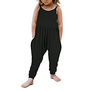 Vieille Baby Girl Jumpsuits for Girls Kids Strap Romper Jumpsuit Toddler Harem Pants with Pockets 1-6 Years