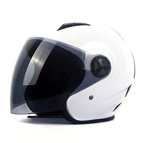 Fenengcheng - Casco de moto Jet en negro y blanco para escúter Chopper – todas las estaciones   US Dot homologado casco moto Jet Visor para hombre y mujer (White, S)