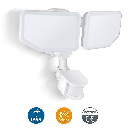 Oeegoo LED-spot met bewegingsmelder, 30W 2800LM buitenspot, IP65 waterdicht sensor schijnwerper, LED-veiligheidslicht met instelbare kop voor binnenplaats, tuin, garage, 6500K