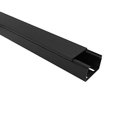 Habengut Kabelkanal (mit Montagelochung im Boden) 40x60 mm aus PVC, Farbe: Schwarz, Länge 1 m