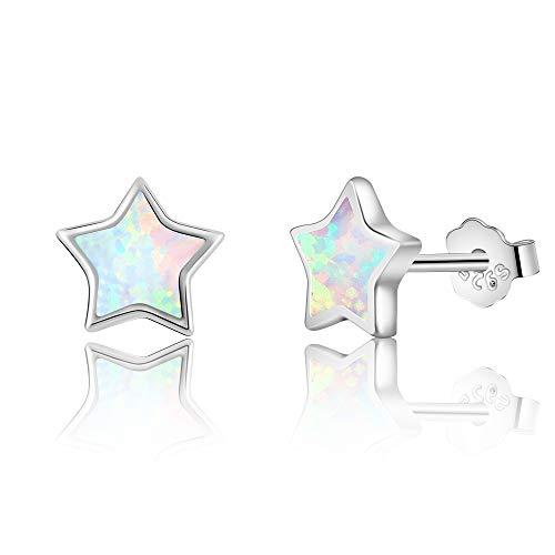 TIZU Pendientes de estrella ópalo de plata 925 hipoalergénicos para mujer niña regalo niña años