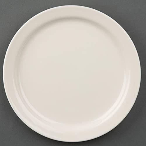 Olympia Ivory Assiettes à Rebord Étroit en Porcelaine Crème 150 mm - Entièrement Vitrifiée - Va au Four, Micro Ondes et Lave Vaisselle - Paquet de 12