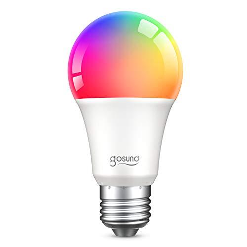 Smart Glühbirne E27, igosund Alexa Lampe Wlan Mehrfarbige Dimmbare Lampe Funktioniert mit Amazon Alexa Echo, Echo Dot Google Home Kein Hub Erforderlich Smart Glühbirne (1 Pack)