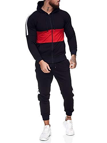 OneRedox | Herren Trainingsanzug | Jogginganzug | Sportanzug | Jogging Anzug | Hoodie-Sporthose | Jogging-Anzug | Trainings-Anzug | Jogging-Hose | Modell JG-1081 Schwarz-Rot M