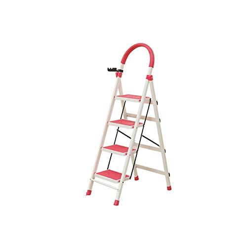 QFF Pasamanos Escalera, Escalera de metal, 4 peldaños de escalera Renovación Ingeniería for el hogar, Escalera de acero pesado con el estante de herramientas doblez