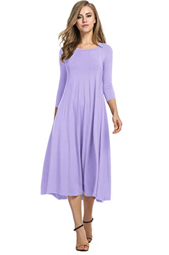 Hotouch Plus Size Short Sleeves O Neck Bohemian Party Long Maxi Dress (Lilac S)